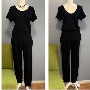 Theory Black Knit Elastic Waistband Jumpsuit